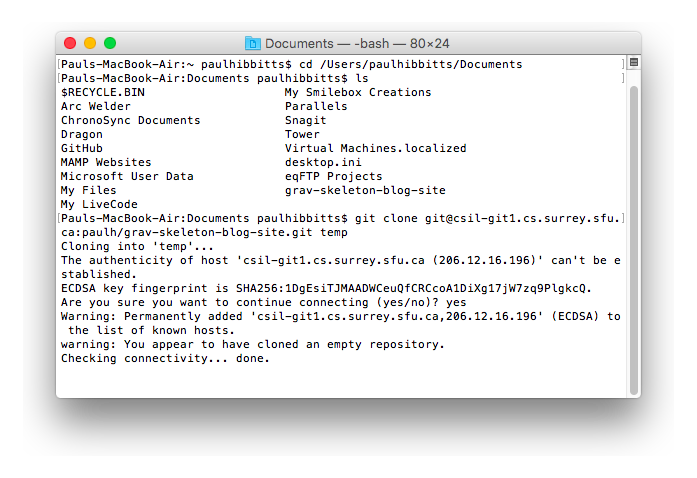 Mac OS Terminal application git clone command completed