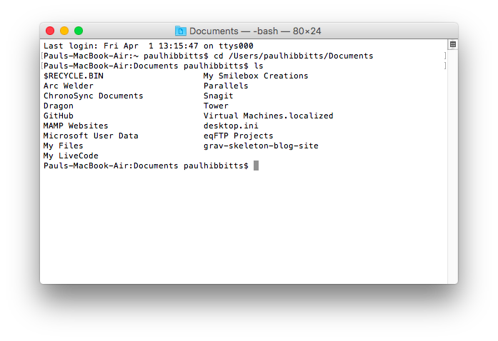 Mac OS Terminal application with ls command entered